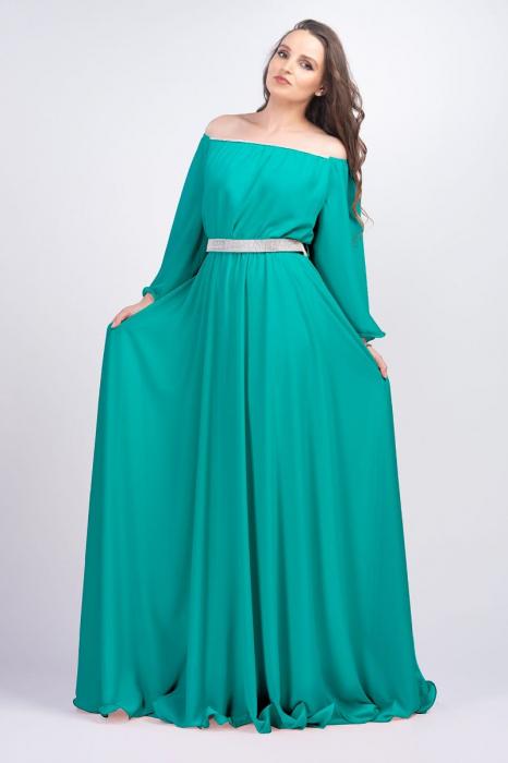 Rochie lunga eleganta din voal cu strasuri Sanziana verde [0]