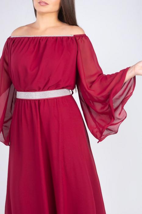 Rochie lunga visinie din voal cu strasuri Sanziana - Femei plinute [3]
