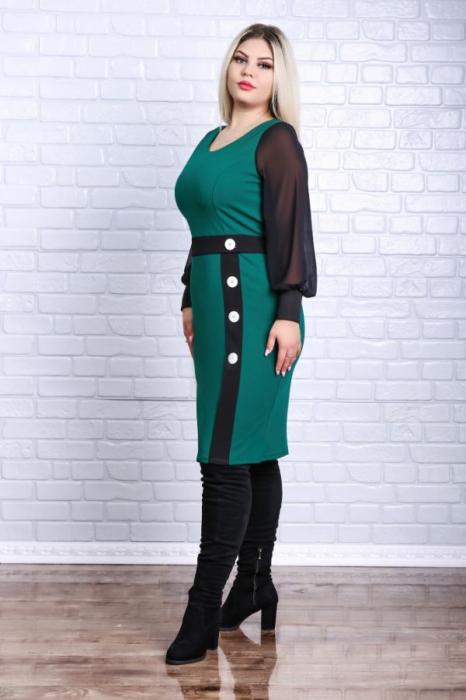 Rochie dreapta midi casual verde cu maneca lunga - Rochii marimi mari 2