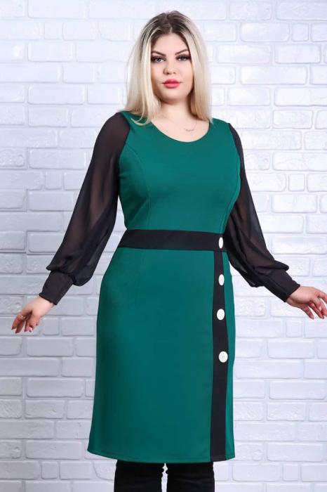 Rochie dreapta midi casual verde cu maneca lunga - Rochii marimi mari 1