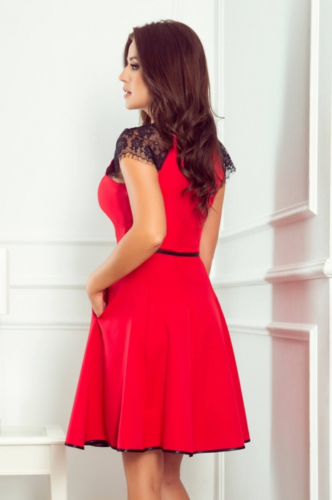 Rochii clos - Rochie midi clos cu buzunare Silvia rosie 3