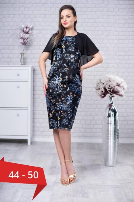 Rochii din bumbac - Rochie cu pelerina si imprimeu floral Linda negru 0