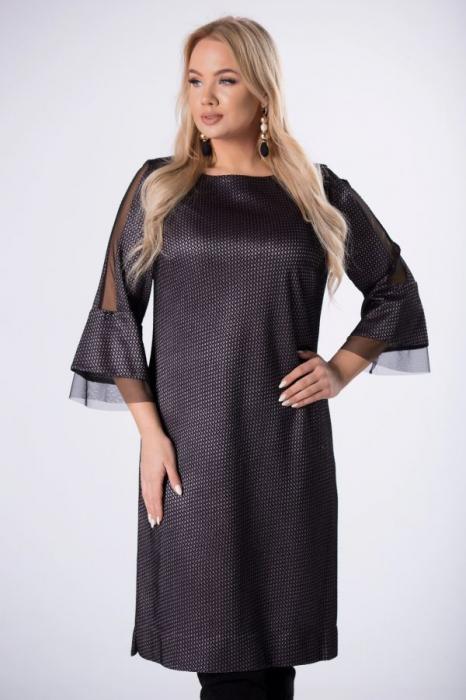 Rochie de ocazie midi eleganta cu insertie din tulle negru 1