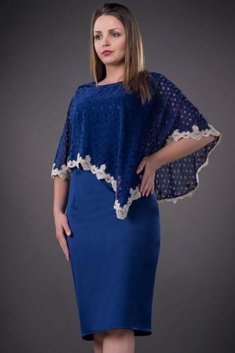 Rochii elegante cu blazer - Rochie de ocazie cu pelerina Elvira, albastru 2