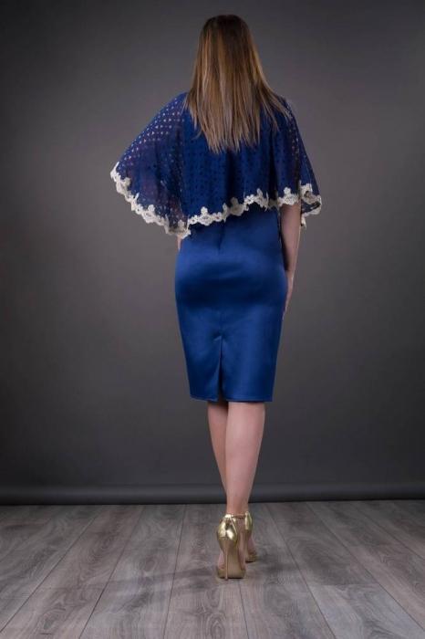 Rochii elegante cu blazer - Rochie de ocazie cu pelerina Elvira, albastru 1