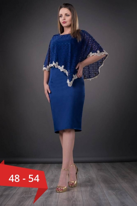 Rochii elegante cu blazer - Rochie de ocazie cu pelerina Elvira, albastru 0