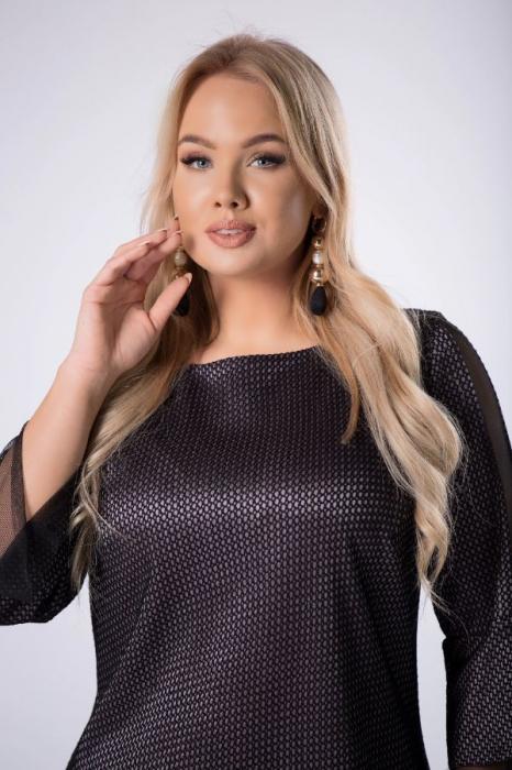 Rochie de ocazie midi eleganta cu insertie din tulle negru 4