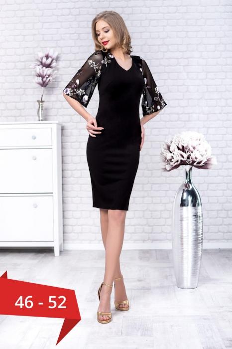 Rochii elegante de ocazie XXL - Rochie midi marimi mari Stefania negru [0]