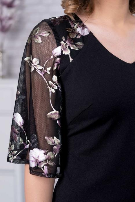 Rochii elegante de ocazie XXL - Rochie midi marimi mari Stefania negru [2]