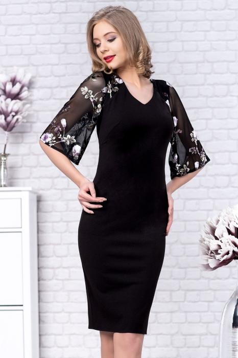 Rochii elegante de ocazie XXL - Rochie midi marimi mari Stefania negru [1]