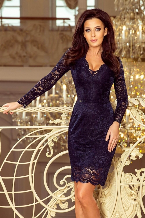 Rochii elegante din dantela - Rochie de ocazie din dantela Marina bleumarin 1