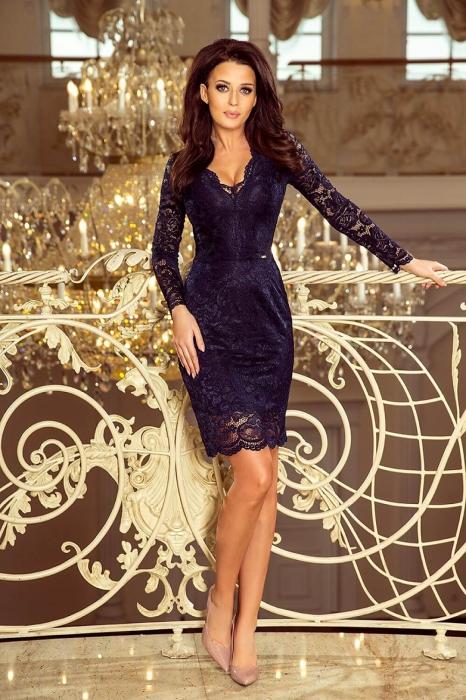 Rochii elegante din dantela - Rochie de ocazie din dantela Marina bleumarin 0