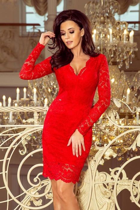 Rochii elegante din dantela rosie - Rochie de ocazie rosie Marina 1