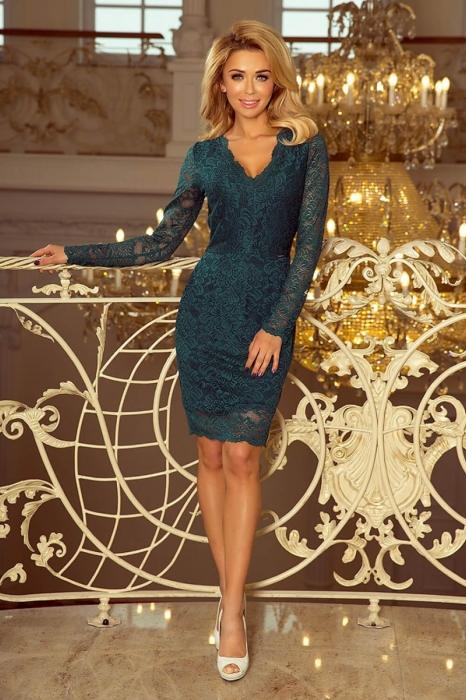 Rochii elegante din dantela - Rochie de ocazie din dantela Marina verde 0