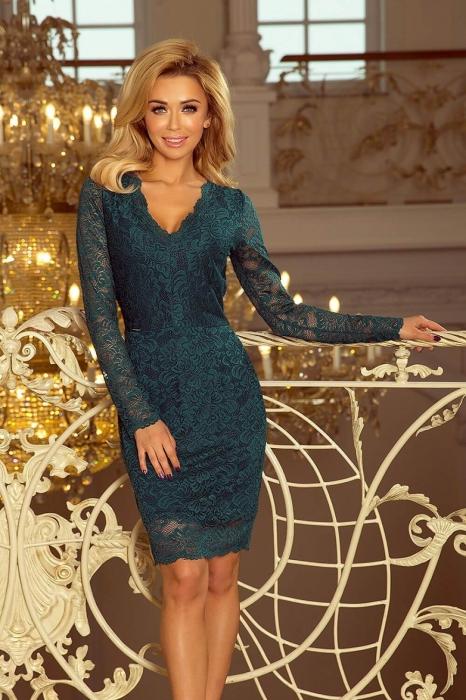 Rochii elegante din dantela - Rochie de ocazie din dantela Marina verde 1
