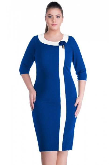 Rochii elegante XXL - Rochie de zi marimi mari Natasa, albastru [1]
