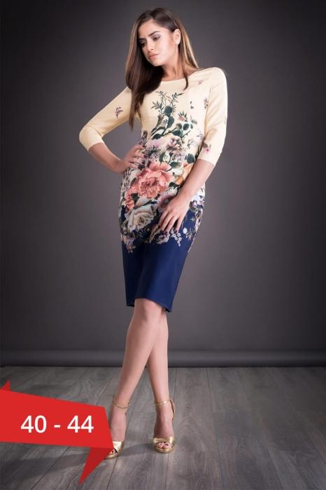 Rochii midi elegante - Rochie de zi cu imprimeu floral Golda bleumarin 0
