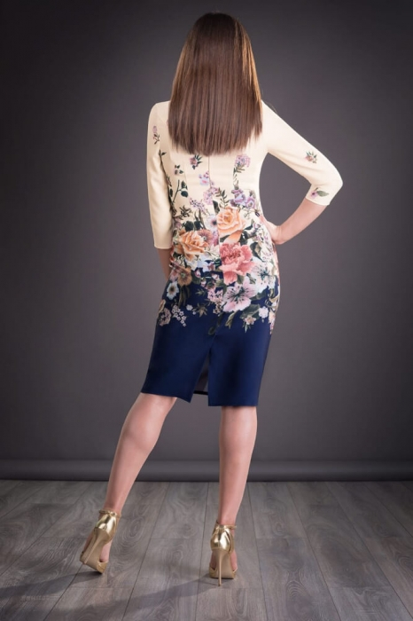 Rochii midi elegante - Rochie de zi cu imprimeu floral Golda bleumarin 1