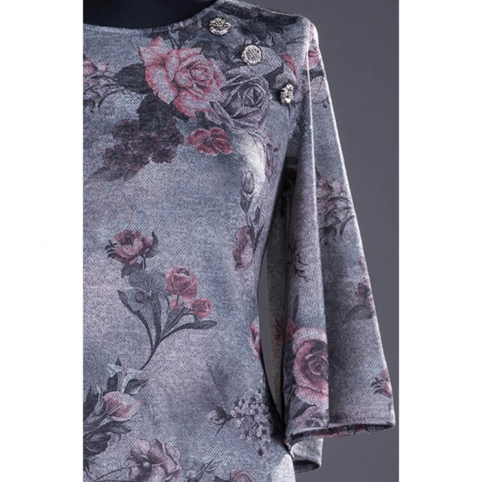 Rochii XXL ieftine - Rochie midi de zi cu imprimeu floral Melania gri 1