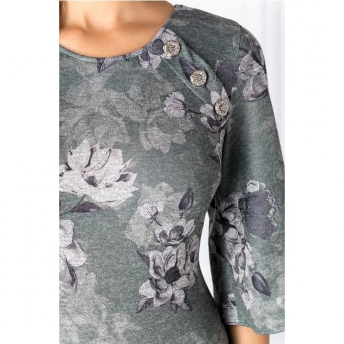 Rochii XXL ieftine-Rochie midi de zi cu imprimeu floral Melania verde 2