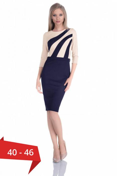 rochii ieftine de zi - Rochie midi de zi Flora, bleumarin/bej 0