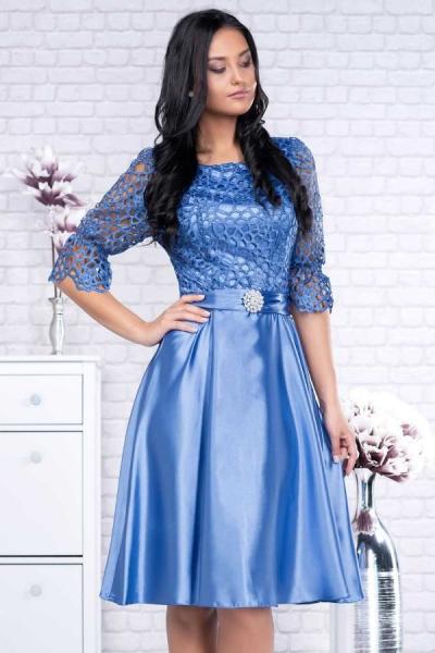 Rochie midi eleganta cu dantela albastra Sidonia - Rochii clos 2