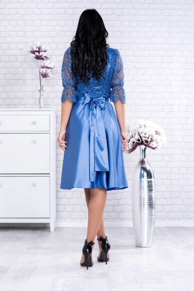 Rochie midi eleganta cu dantela albastra Sidonia - Rochii clos 1