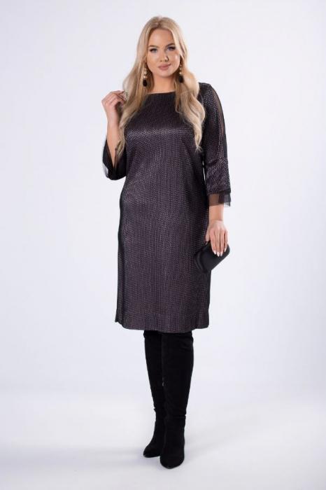 Rochie de ocazie midi eleganta cu insertie din tulle negru 0