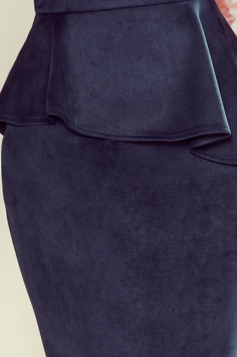 Rochii de ocazie midi - Rochie eleganta de ocazie cu peplum Numoco bleumarin 2