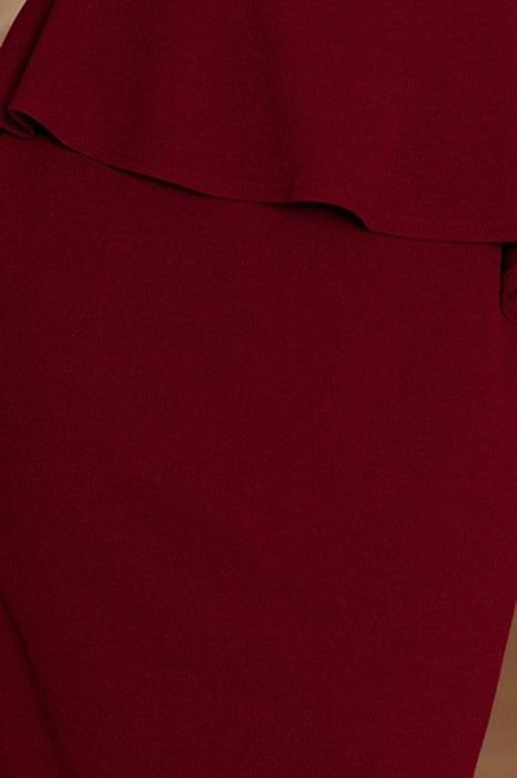 Rochie eleganta de ocazie cu peplum Numoco grena 3