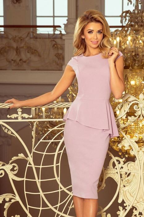 Rochie midi eleganta de ocazie cu peplum Numoco lila 1