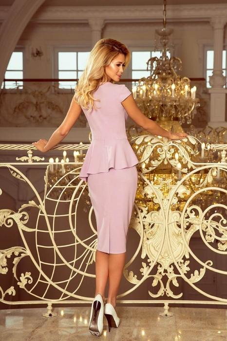 Rochie midi eleganta de ocazie cu peplum Numoco lila 2