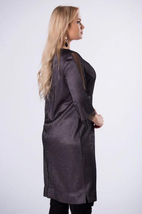 Rochie de ocazie midi eleganta cu insertie din tulle negru 3
