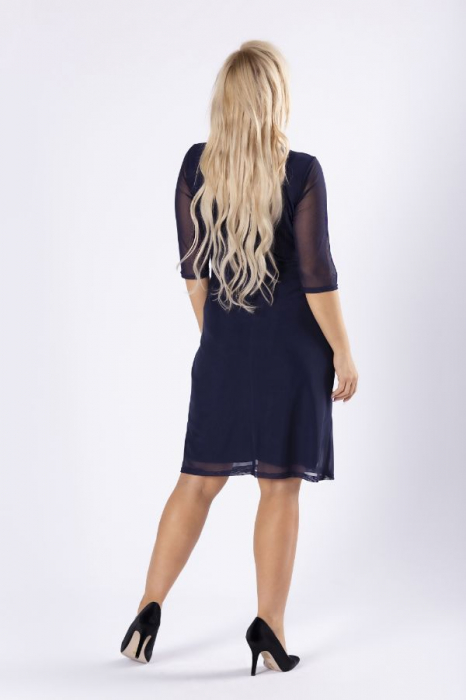 Rochie midi eleganta din voal bleumarin [2]