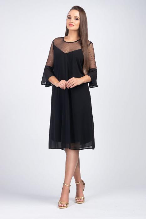 Rochie midi eleganta din voal negru cu plasa cu buline aurii image0