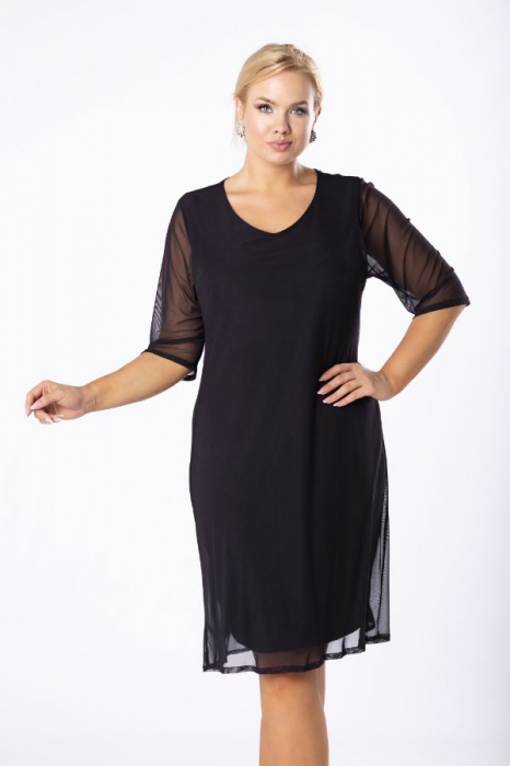 Rochie midi eleganta din voal negru Luiza import Polonia 3