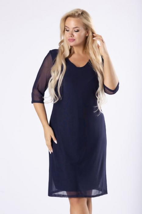 Rochie midi eleganta din voal bleumarin [3]