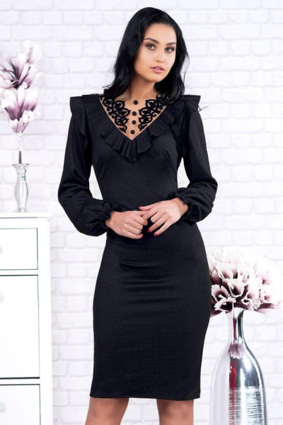 Rochie midi eleganta neagra Ambra - Rochii de zi elegante 1