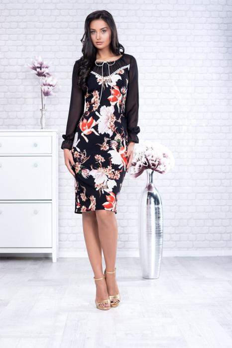 Rochie midi eleganta neagra cu imprimeu floral - Rochii marimi mari 0