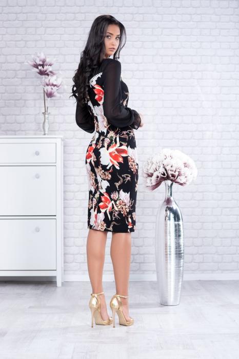 Rochie midi eleganta neagra cu imprimeu floral - Rochii marimi mari 1