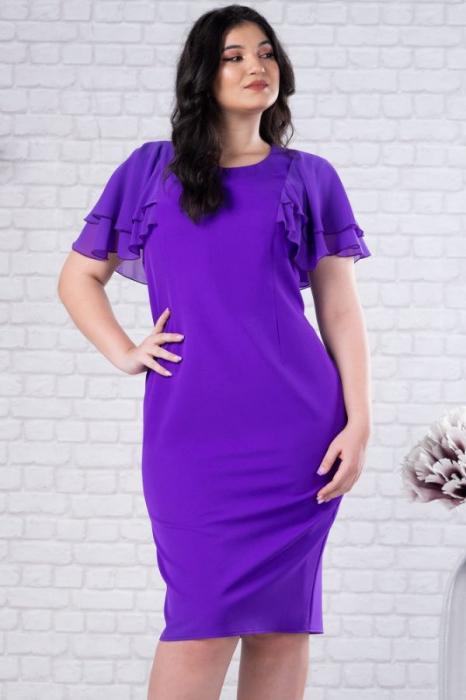 Rochie midi eleganta pentru femei plinute Selina violet 3