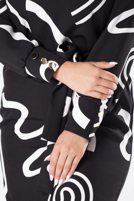 Rochie neagra midi de zi cu maneca lunga si cordon [3]