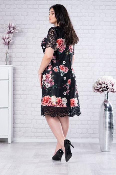 Rochie de ocazie femei plinute cu dantela Mery floral [1]