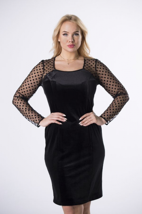 Rochie de seara din catifea neagra - Rochii marimi mari 1