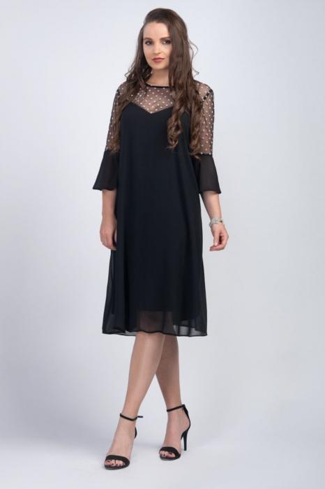 Rochie neagra din voal cu plasa si buline albe - Marimi mari [0]