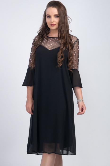 Rochie neagra din voal cu plasa si buline albe - Marimi mari [1]