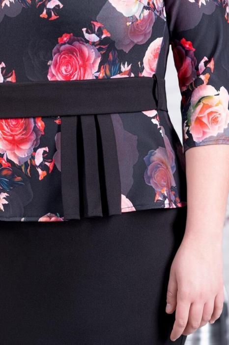 Rochie ocazie midi - Rochie neagra eleganta cu flori rosii Noelia 3