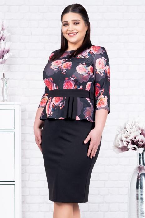 Rochie ocazie midi - Rochie neagra eleganta cu flori rosii Noelia 1