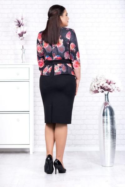 Rochie neagra eleganta cu flori rosii Noelia - Rochii marimi mari [1]