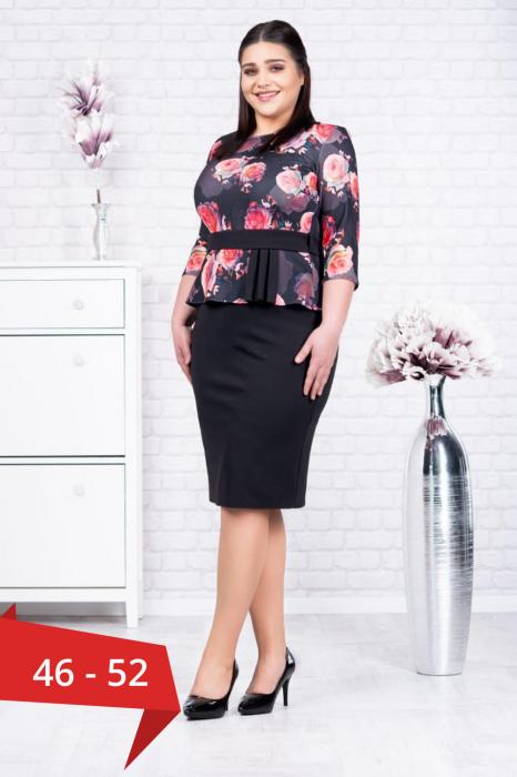 Rochie ocazie midi - Rochie neagra eleganta cu flori rosii Noelia 0